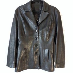 Vintage Leather V-Neck Buttoned Jacket Black Large